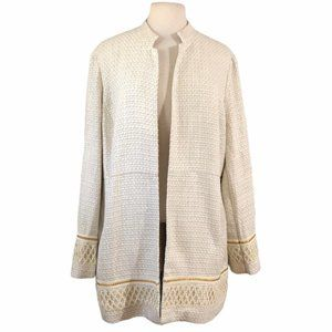CHICO'S Off White Tweed Open Front Jacket Size XL
